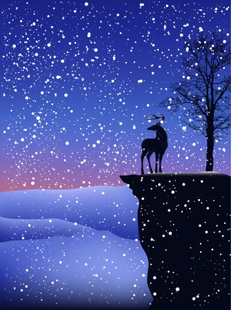 snow falling: detailed Christmas landscape - deer on a cliff during snowfall Illustration