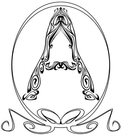 artes plasticas: Art Nouveau estilo de fuente - la letra A Vectores