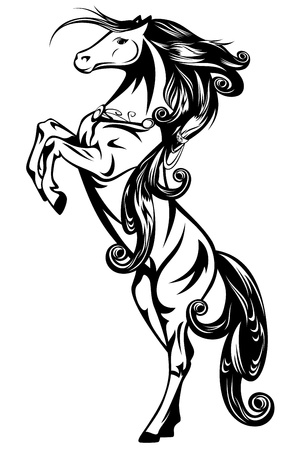 rearing: horse - beautiful art nouveau style fairy tale animal