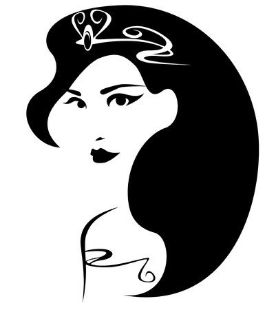 beautiful princess illustration - black and white outline of a female face with long hair and crown Vector