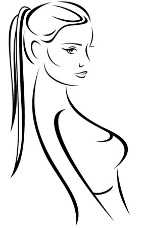 black breast: beauty with long hair vector illustration - outline of female face and body
