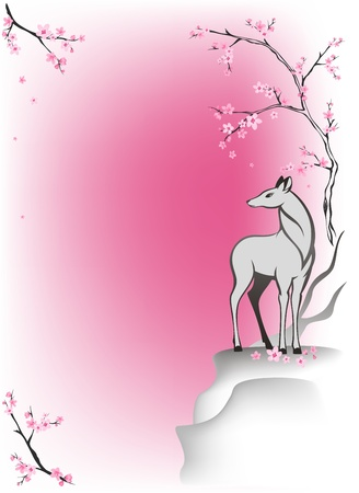 damhirsch: Hirsch steht auf einer Klippe unter bl�henden B�umen Fr�hling Illustration