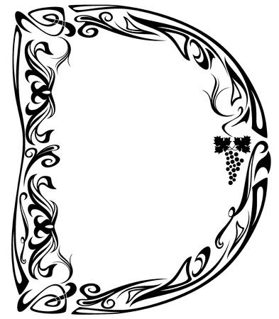 artes plasticas: Art Nouveau, estilo de fuente vintage - letra D - elementos florales en blanco y negro de dise�o Vectores