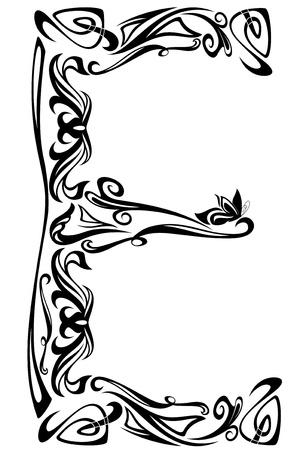 Art Nouveau style vintage font - letter E fine vector outlines
