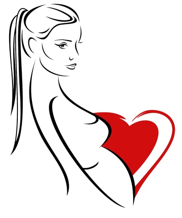 beautiful pregnant woman - maternity vector emblem Stock Vector - 11788121