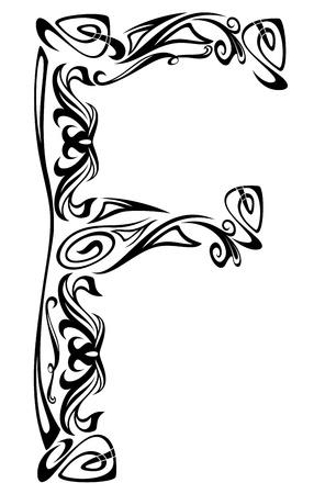 artes plasticas: El Art Nouveau de la fuente de estilo vintage - letra F esquema blanco y negro