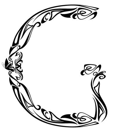 Art Nouveau style vintage font - letter G black and white outline Stock Vector - 11788126