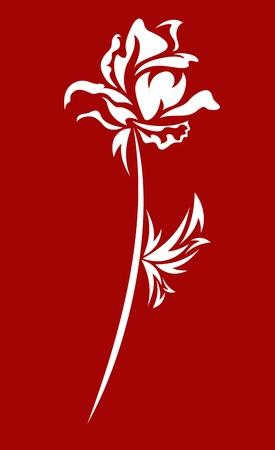 silhouette fleur: élégante rose blanche sur fond rouge - illustration vectorielle