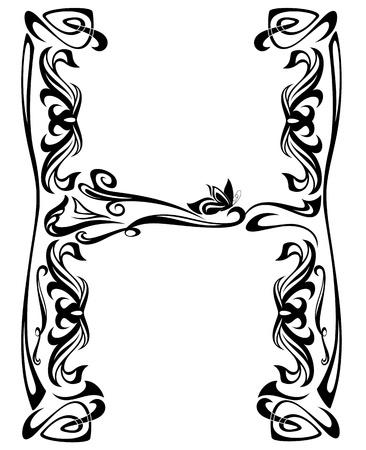 stile liberty: Art Nouveau carattere d'epoca - lettera H schema in bianco e nero Vettoriali