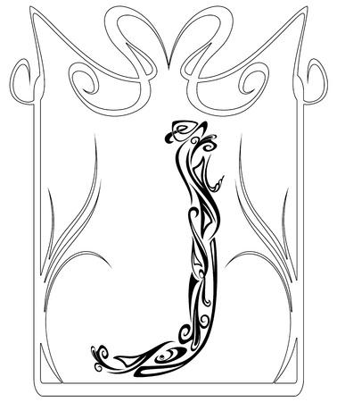 artes plasticas: El Art Nouveau de la fuente de estilo vintage - letra J esquema blanco y negro