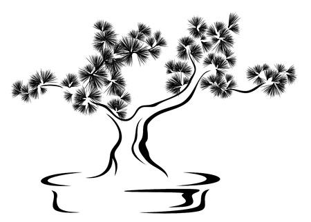 bonsai tree black and white vector illustration