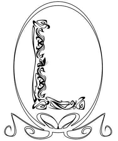 nouveau design: Art Nouveau style vintage font - letter L black and white outline  Illustration