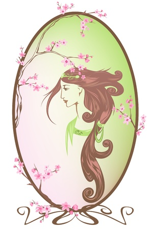 spring girl portrait vector - all elements are editable Stock Vector - 11866135