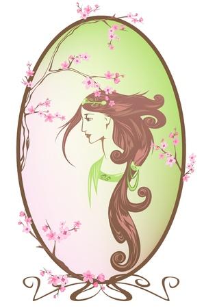 auburn hair: spring girl portrait vector - all elements are editable