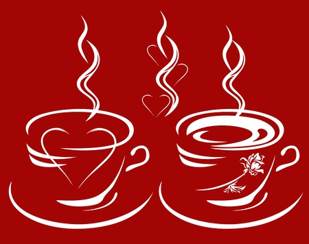 cup of coffee or tea with heart and rose inside - hot drinks decorative elements set Vector