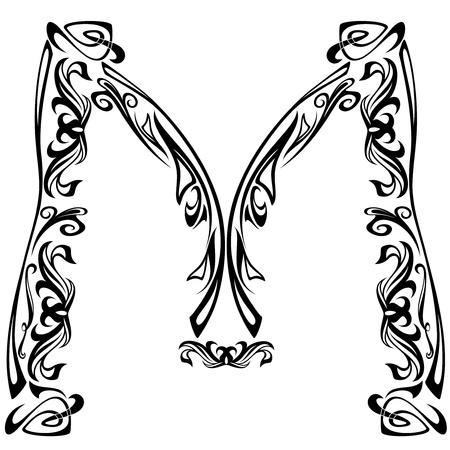 pila bautismal: Art Nouveau estilo de fuente - letra M - esquema bien vector de blanco y negro Vectores