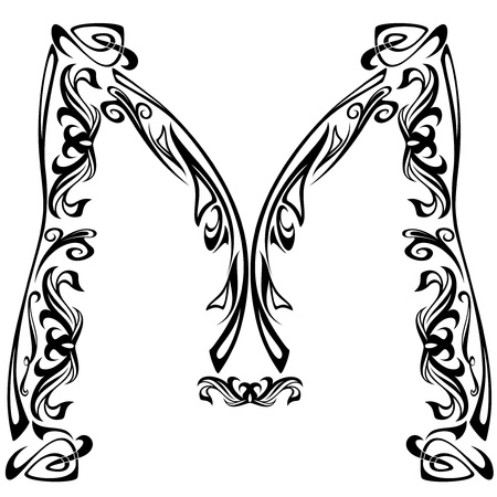 Art Nouveau style font - letter M - black and white fine vector outline Vector