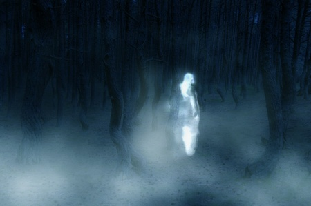 eerie: fake ghost photo - woman silhouette in white dress walking in the creepy forest