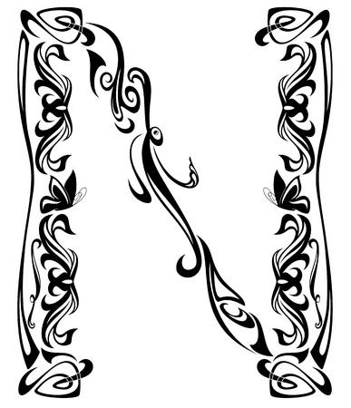 artes plasticas: De estilo Art Nouveau, la vendimia de la fuente - letra N contorno blanco y negro Vectores
