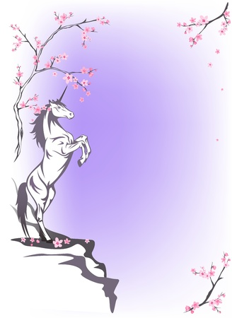 fairytale background: spring fairytale background with rearing unicorn among blooming trees Illustration
