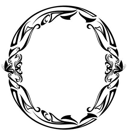 아르누보 스타일의 빈티지 글꼴 - 문자 O 검은 색과 흰색 개요 일러스트