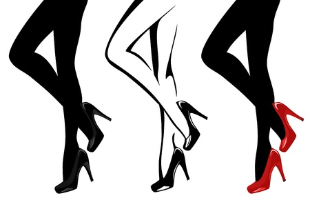beautiful women legs wearing high-heeled shoes vector illustration Vector