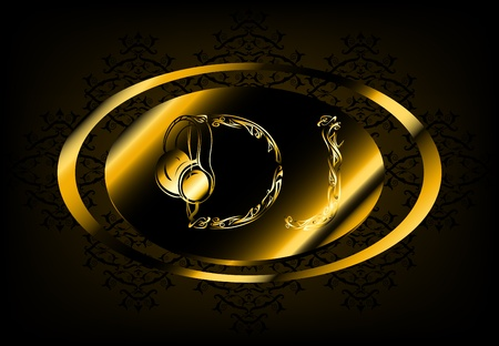 dj: luxurious golden black DJ emblem Illustration