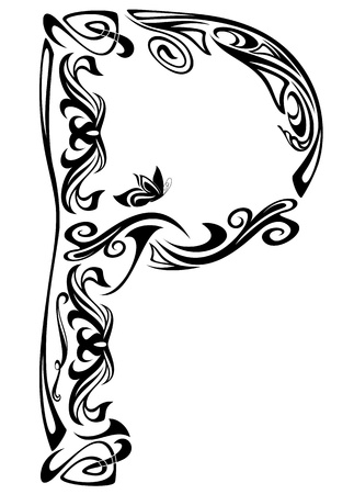 stile liberty: Art Nouveau carattere vintage style - lettera P contorno bianco e nero Vettoriali