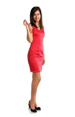 smiling brunette against white background studio shot photo