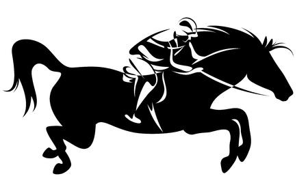 springpaard: springen paard en jockey - paardensport embleem Stock Illustratie
