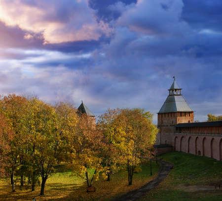 novgorod: Veliky Novgorod (Russia) ancient Kremlin in autumn
