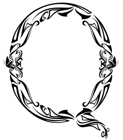 q: Art Nouveau style vintage font - letter Q black and white outline Illustration