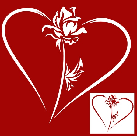 heart with rose - design element for Valentines Day Vector