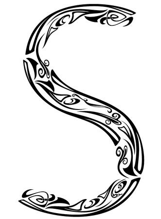 artes plasticas: El Art Nouveau de la fuente de estilo floral - letra S - esquema bien vector de blanco y negro
