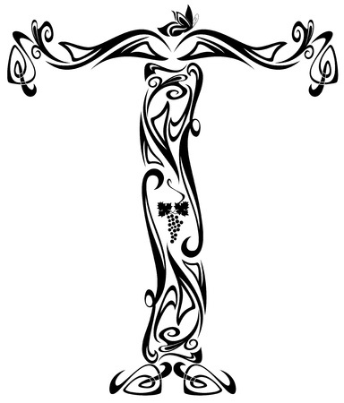 initial: Art Nouveau carattere stile vintage - lettera t e nero contorno bianco