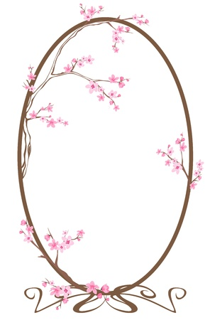 spring oval frame with blooming tree branches Vector
