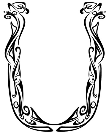 fine arts: Art Nouveau floral style font - letter U - black and white fine vector outline - abstract floral design elements Illustration