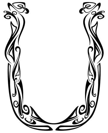 artes plasticas: El Art Nouveau de la fuente de estilo floral - letra U - esquema bien vector de blanco y negro - resumen los elementos de dise�o floral