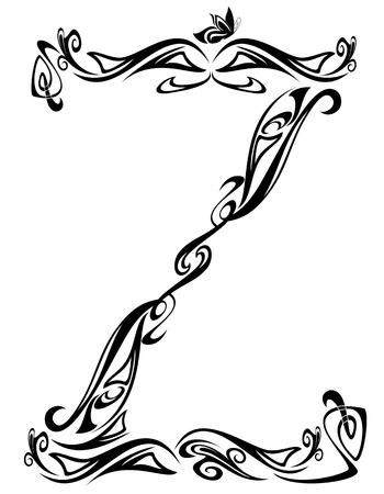 artes plasticas: El Art Nouveau de la fuente de estilo floral - letra Z - esquema bien vector de blanco y negro - resumen los elementos de dise�o floral