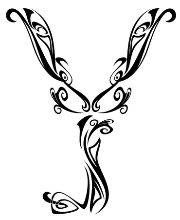 freehand: Art Nouveau floral style font - letter Y - black and white fine vector outline - abstract floral design elements