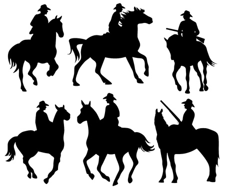 horse riding: cowboy riding a horse - set of black silhouettes on white