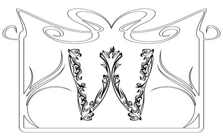 Art Nouveau style vintage font - letter W monochrome outline and frame
