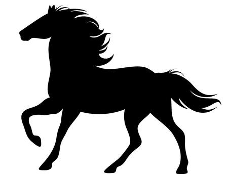 caballo caricatura: corriendo silueta de caballo Vectores