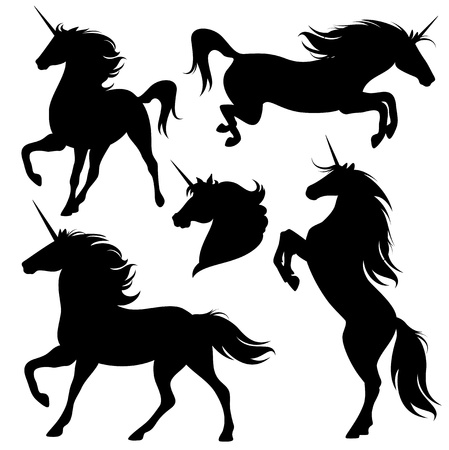 set of fine unicorn silhouettes - running, rearing and jumping magic horses Vector