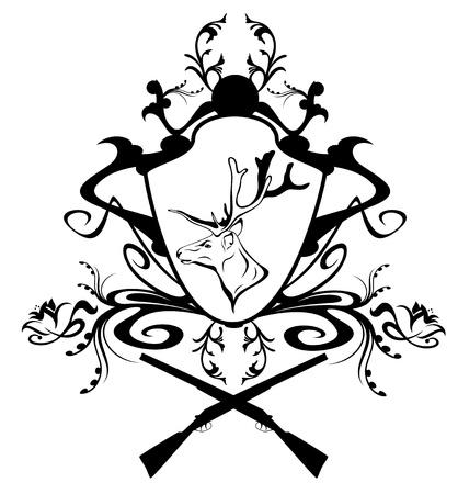 оленьи рога: охота эмблема с головой оленя и цветочным декором Иллюстрация
