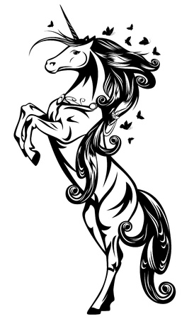 mythical: beautiful magic unicorn with long mane and butterflies flying around - black and white outline