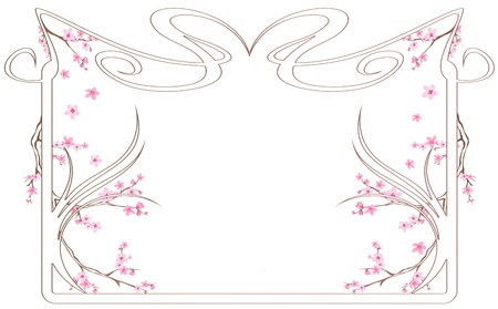 tender spring season frame with blossoming tree branches Stock Vector - 12488643