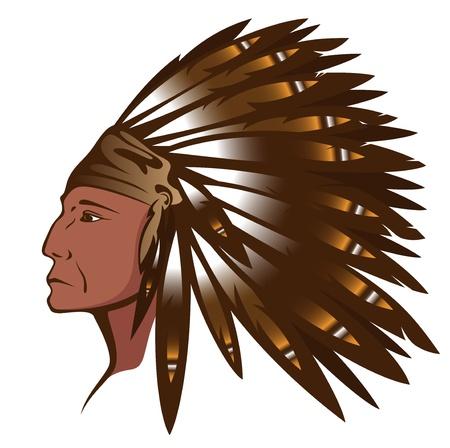 indian chief headdress: Red capo indiano che indossa tradizionale copricapo di piume Vettoriali