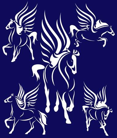 stallion: set of beautiful winged horses - white pegasus against blue