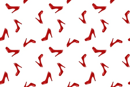high contrast: shiny red shoes on white - seamless fashion background Illustration